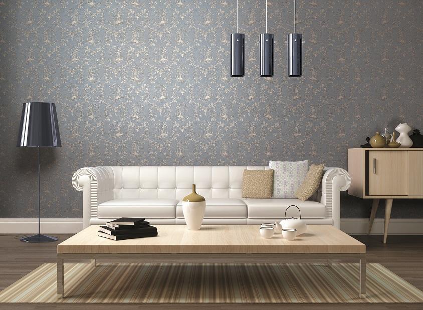 giấy dán tường phòng khách gam màu xám