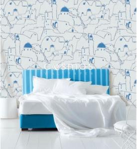 giấy dán tường phòng ngủ phong cảnh châu âu