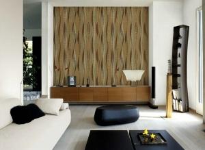 giấy dán tường phòng khách sọc hiện đại