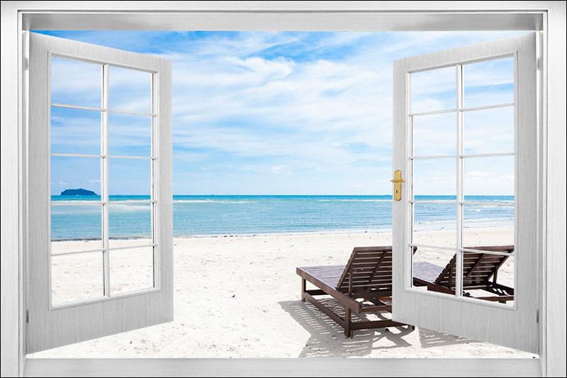 tranh dán tường cửa sổ 3d DS 100