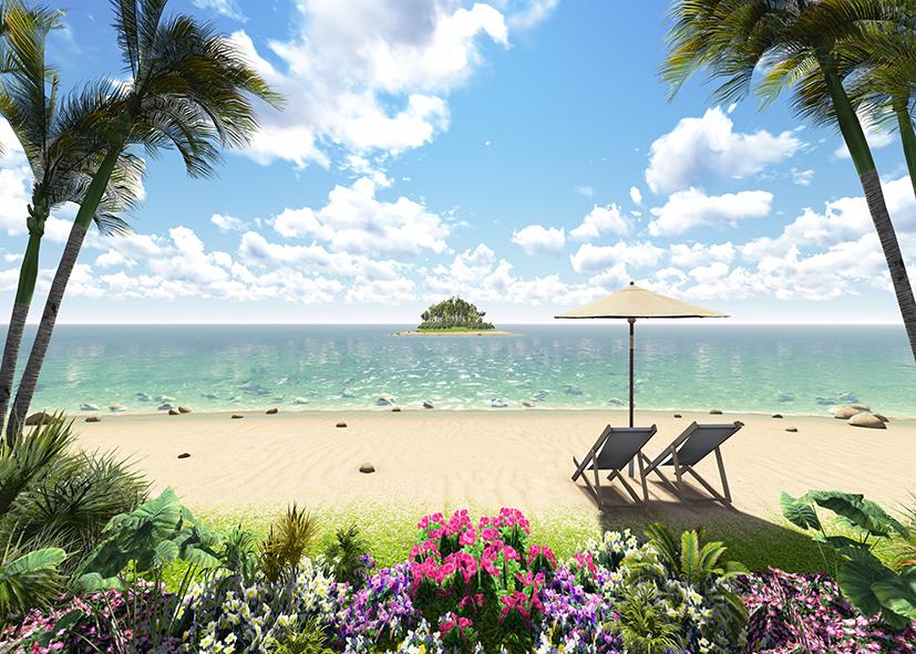 tranh dán tường bãi biển 197