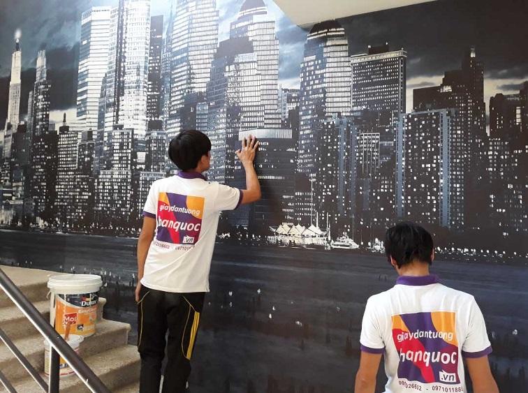 thi công tranh dán tường văn phòng Bitcoin Việt Nam